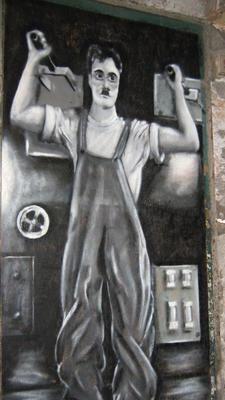 Charlie Chaplin Wandbild in Genua