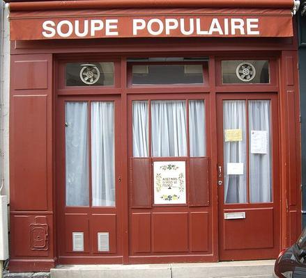 A soup kitchen in Rue Clément, Paris 6th.