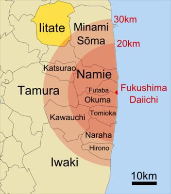 Fukushima Evakuierungszonen