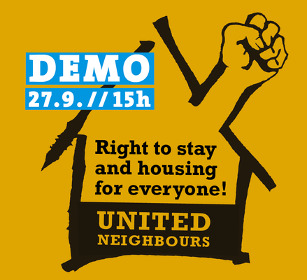 Plakat für Bleiberechts und Wohnraumdemo in Berlin