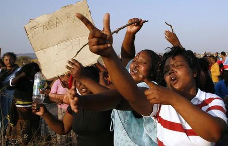 Protestierende Frauen in Marikana