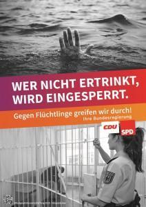 Plakat zur Kampagne gegen die Neufassung des Aufenthaltsgesetzes