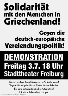 Solidarität mit den Menschen in Griechenland - Gegen die deutsch-europäische Verelendungspolitik