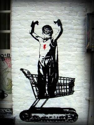 shopping hero by banksy