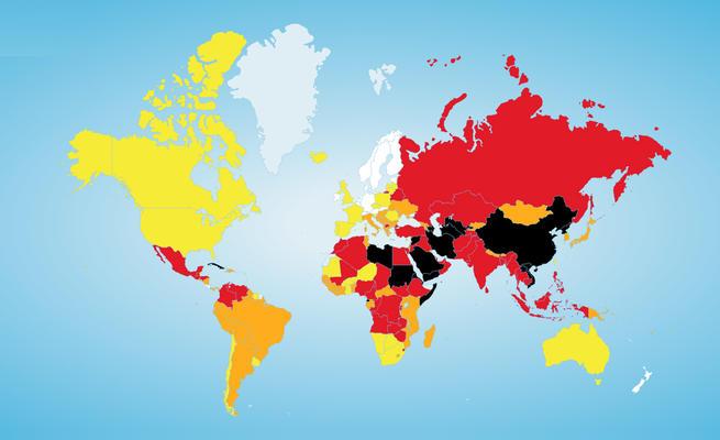 Karte Pressefreiheit 2015