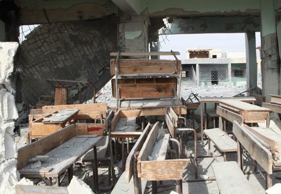 zerstörter klassenraum