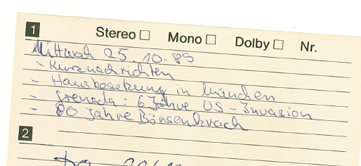 CassettenCover Mi. 25.10.1989