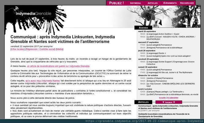Screenshot der Indymedia-Seite Grenoblé