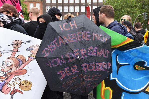 Linke bei einer Demo gegen den G-20 Gipfel im Hamburg.