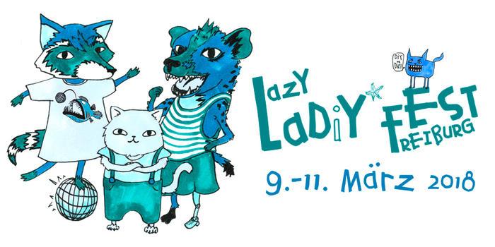Lazy Ladiyfest Freiburg - Logo mit rotem Panda, Hyäne und Katze