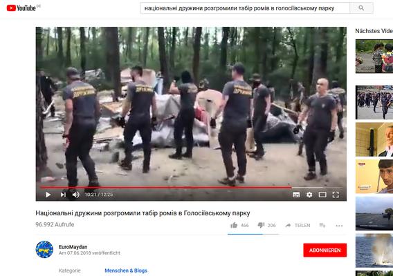 Screenshot eines eigenen Videos der Neonazis von ihrem Angriff auf ein Romacamp im Holosiyivskiy Park in Kiew am 7. Juni 2018