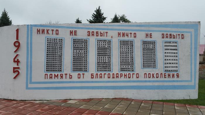 """Denkmal für die im 2. Weltkrieg gefallenen Bewohner des Dorfes Motal bei Pinsk. Nach der namentlichen Auflistung aller gerfallenen Rotarmisten und Partisanen folgen auf der letzten Tafel """"weitere 2000 friedliche Bewohner"""" - die verschwiegenen Schoaopfer"""