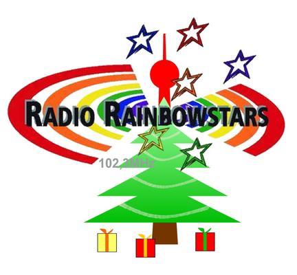 Modifiziertes Radio RainbowStars-Logo in Weihnachtsoptik