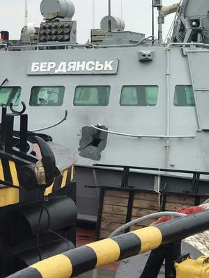 Ukrainisches Grenzschutzboot Berdjansk nach dem russischen Beschuss