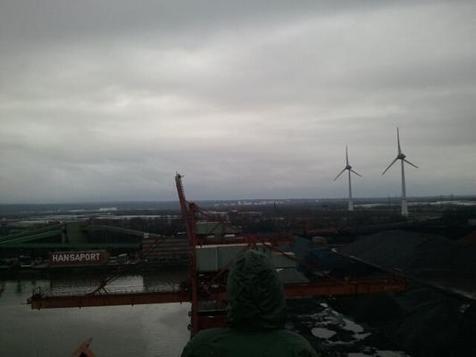 Mensch schaut über Kohlehafen 'Hansaport'