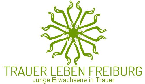"""Runde Grafik von Händen, die nach innen gereicht werden und nach außen eine auffangende Geste bilden. Schriftzug """"Trauer Leben Freiburg"""" darunter."""