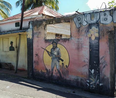 Freier-Maroonkrieger-Graffiti in Accompong Maroon Town (Jamaika)