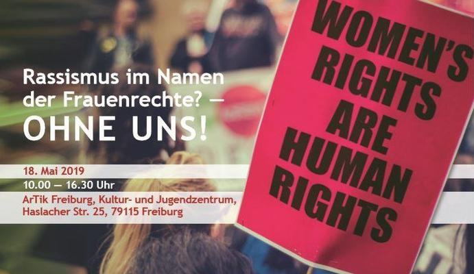 """Ankündigung der Veranstaltung """"Rassismus im Namen der Frauenrechte- Ohne uns!"""""""