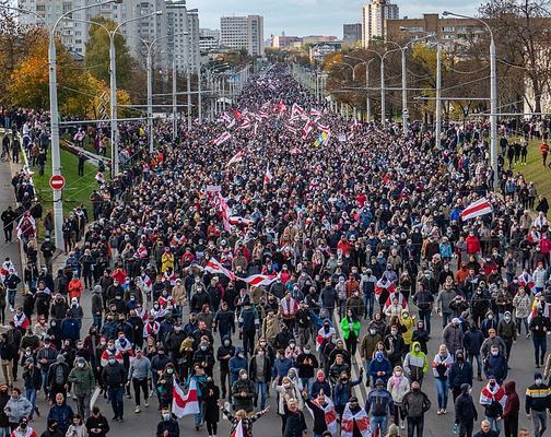 Proteste am 18. Oktober 2020. Minsk, Belarus (Weißrussland)