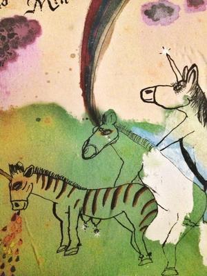 Der Ausschnitt eines CocoRosie-Covers zeigt drei Pferde / Zebras / Einhörner beim gemeinsamen Sex, wobei eins gleichzeitig kotzt und ein anderes einen Regenbogen versprüht.