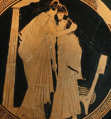 Attische, rotfigurige Vasenmalerei, ca. 480 v. Chr., einen bärtigen Eromenos zeigend, der einen jugendlichen Erastes küsst