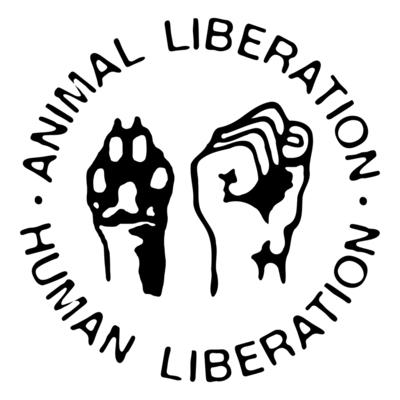 Animal Liberation - Human Liberation. Symbol. Text im Kreis angeordnet. In der Mitte Faust & Pfote.