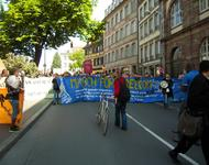 Front-Transpi des Protest March for Freedom in der Strassburger Innenstadt