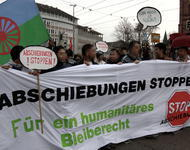 Flüchtlinge demonstrieren für ihr Bleiberecht, Freiburg März 2014
