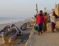Frauen mit Fisch an der Küste in Staint Louis