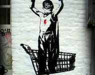 shopping hero by banksy