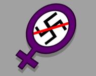 Ein Frauenzeichen mit durchgestrichenem Hakenkreuz im Kreis