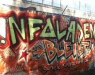 Graffiti für den Erhalt des Infoladens