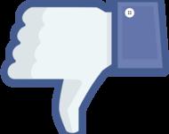 Ein Facebook Like-Daumen, der nach unten zeigt.