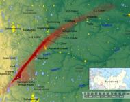Verbreitungsspur der radioaktiven Wolke von Tscheljabinsk 40