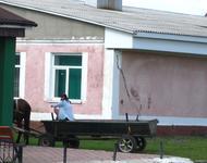 In Stara Rafalivka sind Pferdewagen nicht aus der Mode gekommen, im Gegensatz zur verblassten sowjetischen Symbolik