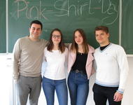 Unsere Interviewpartner aus dem Georg-Büchner-Gymnasium, von links nach rechts Philipp Brotz, Lara, Finja und Daniel