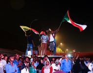 Eine Demonstration kurz vor dem Rücktritt Umar Al-Bashirs