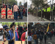 Szenen der Demonstrationen, Oktober 2019 in Ecuador