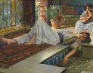 Gemälde aus dem 19. Jh, eine Frau liegt auf einem Podest, eine andere spielt Geige