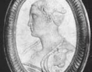 Skulptur von Francesca, Komponistin der frühesten erhaltenen Oper aus der Feder einer Frau