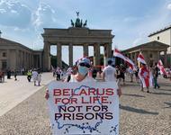 "Demonstration der belarussischen Diaspora in Berlin am 9.08.2020, Tag der Präsidentschaftswahl. ""Belarus for Life, not for Prisons."""