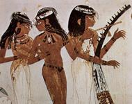Szene mit Tänzerinnen und Harfenspielerin (Aus der Grabkammer des Nacht, Theben, um 1422–1411 v. Chr.)