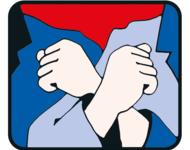 Das Logo der Roten Hilfe. Es zeigt zwei eingehakte Menschen, als Symbol der Solidarität.