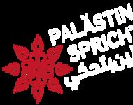 """Das Logo der Gruppe """"Palästina Spricht"""", eine rote Blume."""