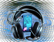 Electric device connected to headphones. Background: Waves in blue and dark grey.