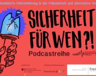 Logo Sicherheit für wen?! Institutionalisierte Diskriminierung in der Polizeiarbeit, Logos Stadt Freiburg, Demokratie Leben und Bundesministerium für Familie, Senioren, Frauen und Jugend