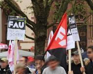 Ironische Aktion der FAU am 1.Mai-Fest. Foto: RDL